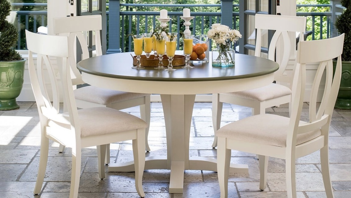 Dining Set With Round Table Wood Top 4242 Chair9200 By Canadel